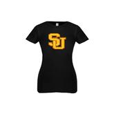 Next Level Girls Black Fashion Fit T Shirt-SU