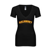 Next Level Ladies Junior Fit Deep V Black Tee-Arched Salisbury University
