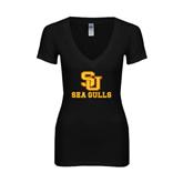 Next Level Ladies Junior Fit Deep V Black Tee-SU Sea Gulls