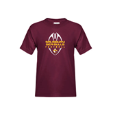 Youth Maroon T Shirt-Tall Football Design