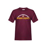 Youth Maroon T Shirt-Flat Football Design