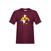 Youth Maroon T Shirt-Sammy the Sea Gull Distressed