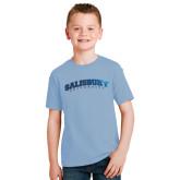 Youth Light Blue T Shirt-Arched Salisbury University Foil