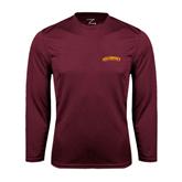 Performance Maroon Longsleeve Shirt-Arched Salisbury University