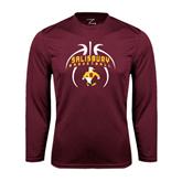 Performance Maroon Longsleeve Shirt-Graphics in Basketball
