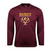 Performance Maroon Longsleeve Shirt-Graphics on Basketball