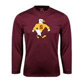 Performance Maroon Longsleeve Shirt-Sammy the Sea Gull
