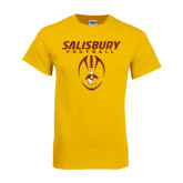 Gold T Shirt-Salisbury Football Stacked w/ Ball