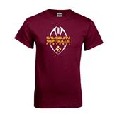 Maroon T Shirt-Tall Football Design