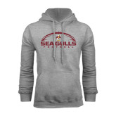 Grey Fleece Hoodie-Sea Gulls Football Horizontal w/ Ball