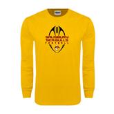 Gold Long Sleeve T Shirt-Tall Football Design