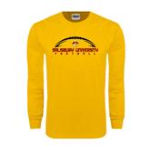 Gold Long Sleeve T Shirt-Flat Football Design
