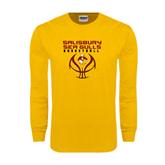 Gold Long Sleeve T Shirt-Graphics on Basketball