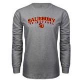 Grey Long Sleeve T Shirt-Volleyball