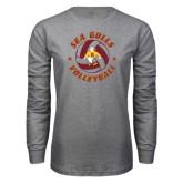 Grey Long Sleeve T Shirt-Volleyball Design