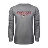 Grey Long Sleeve T Shirt-Sea Gulls Football Flat