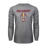 Grey Long Sleeve T Shirt-Salisbury Football Stacked w/ Ball