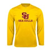 Performance Gold Longsleeve Shirt-SU Sea Gulls
