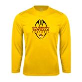 Performance Gold Longsleeve Shirt-Tall Football Design