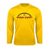 Performance Gold Longsleeve Shirt-Flat Football Design