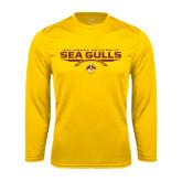Performance Gold Longsleeve Shirt-Sea Gulls Football Flat