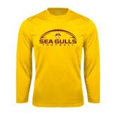 Performance Gold Longsleeve Shirt-Sea Gulls Football Horizontal w/ Ball