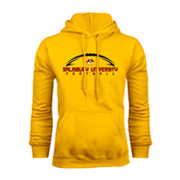 Gold Fleece Hoodie-Flat Football Design