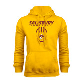 Gold Fleece Hoodie-Salisbury Football Stacked w/ Ball