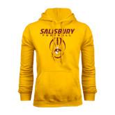 Gold Fleece Hoodie-Salisbury Football Stacked w/ Ball