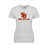 Ladies White T Shirt-SU Sea Gulls