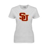Ladies White T Shirt-SU