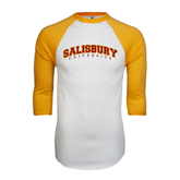 White/Gold Raglan Baseball T-Shirt-Arched Salisbury University