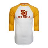 White/Gold Raglan Baseball T-Shirt-SU Sea Gulls