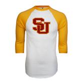 White/Gold Raglan Baseball T-Shirt-SU
