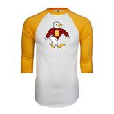 White/Gold Raglan Baseball T-Shirt-Sammy the Sea Gull Distressed