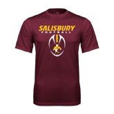 Performance Maroon Tee-Salisbury Football Stacked w/ Ball