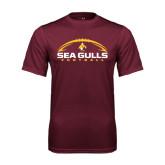 Performance Maroon Tee-Sea Gulls Football Horizontal w/ Ball
