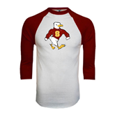 White/Maroon Raglan Baseball T Shirt-Sammy the Sea Gull Distressed