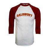 White/Maroon Raglan Baseball T Shirt-Arched Salisbury University
