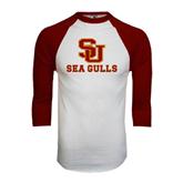White/Maroon Raglan Baseball T Shirt-SU Sea Gulls