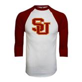 White/Maroon Raglan Baseball T Shirt-SU