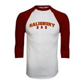 White/Maroon Raglan Baseball T Shirt-Dad