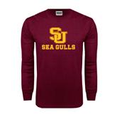 Maroon Long Sleeve T Shirt-SU Sea Gulls