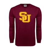 Maroon Long Sleeve T Shirt-SU