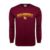 Maroon Long Sleeve T Shirt-Baseball