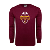 Maroon Long Sleeve T Shirt-Tall Football Design