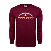 Maroon Long Sleeve T Shirt-Flat Football Design