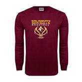 Maroon Long Sleeve T Shirt-Graphics on Basketball