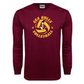 Maroon Long Sleeve T Shirt-Volleyball Design