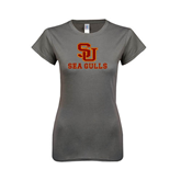 Next Level Ladies SoftStyle Junior Fitted Charcoal Tee-SU Sea Gulls